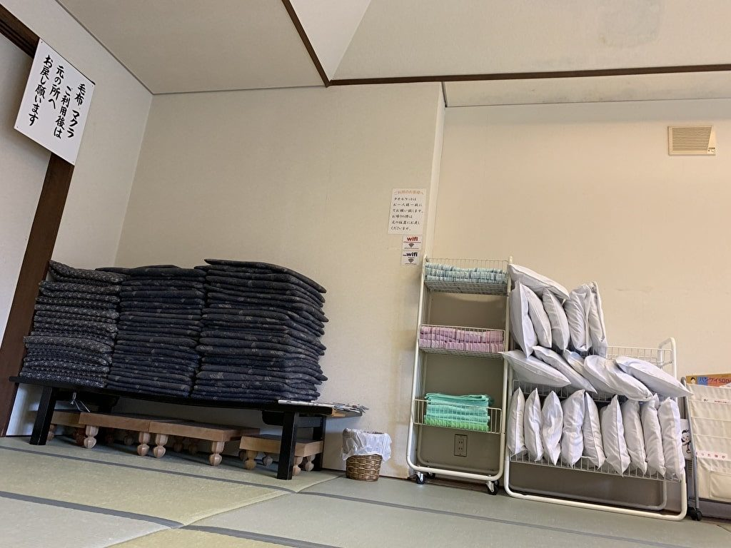 Pillows and towels in the break room on the 2nd floor min