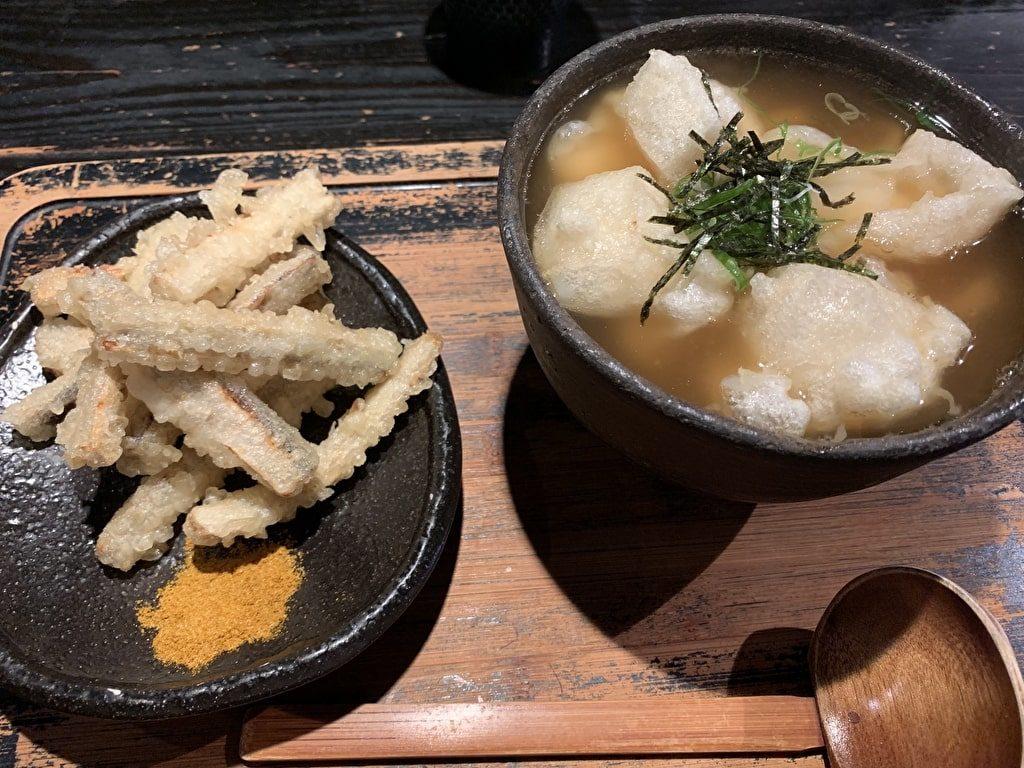 山元麺蔵の揚げ餅うどん土ごぼうの天ぷら
