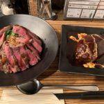 佰食屋のステーキ丼とハンバーグ