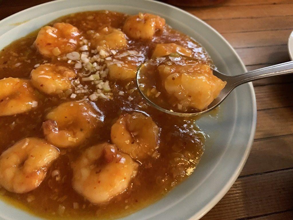 糸仙の小海老のチリソース実食