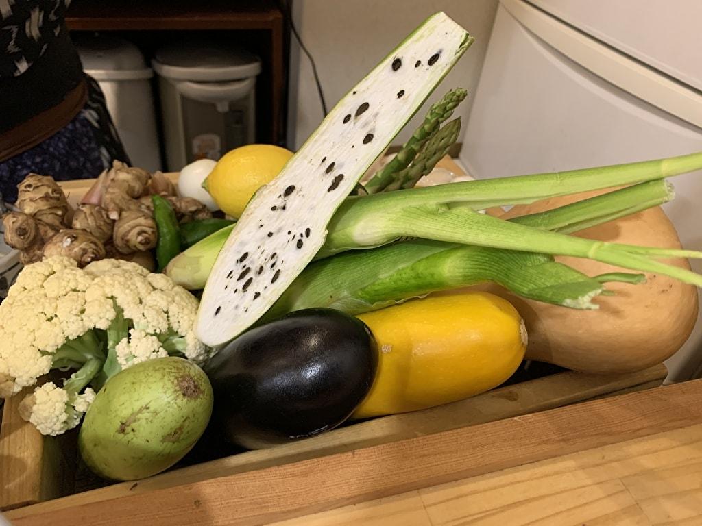 天ぷら処にしむらの地元の野菜