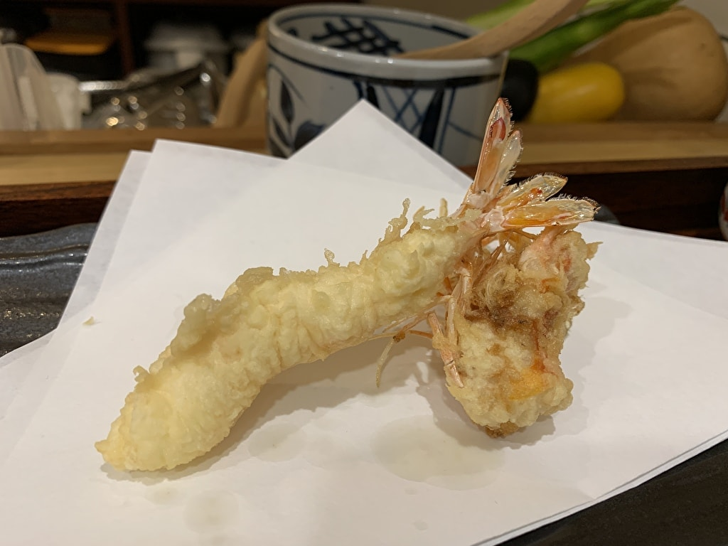 天ぷら処にしむらの車海老1回目