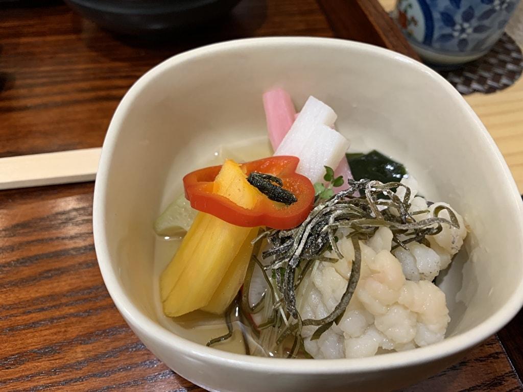 天ぷら処にしむらの鱧と野菜の酢の物