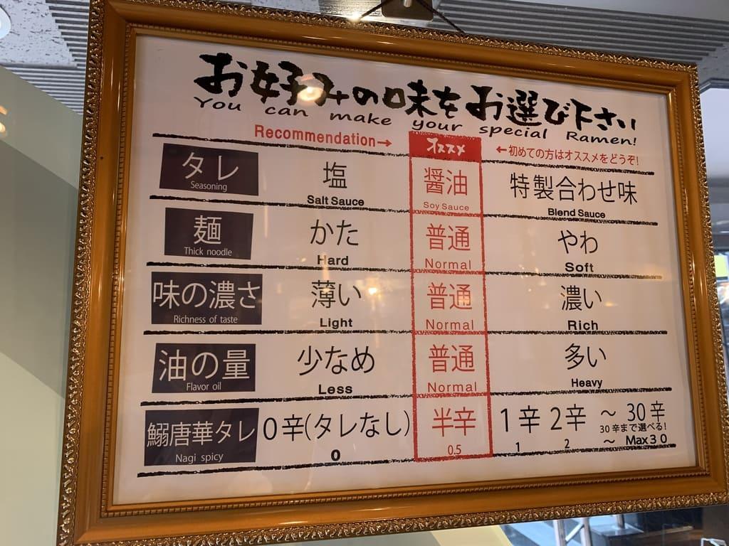 すごい煮干ラーメン凪のラーメン味チョイス