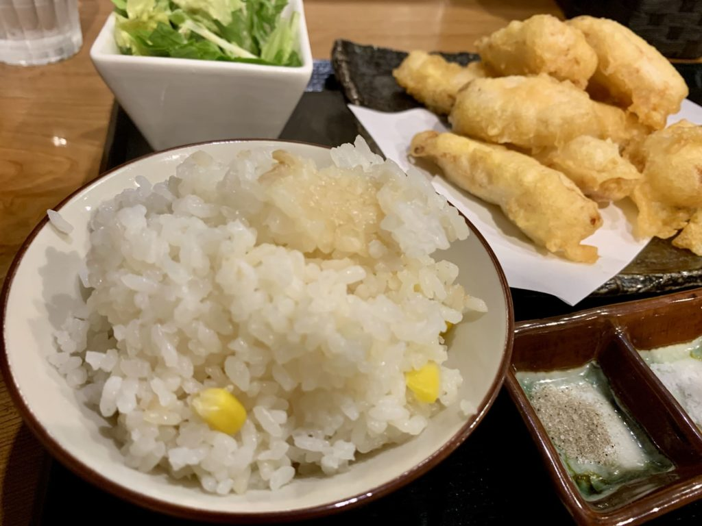 鶏コロールのとり天食べ放題ランチ炊き込みご飯