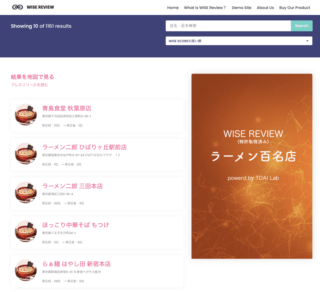 Really delicious ramen ranking result in Tokyo selected by AI