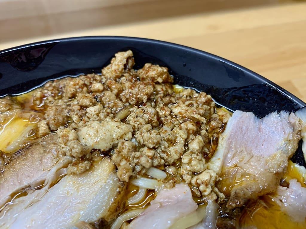 北大塚ラーメンの激辛チャーシュー麺そぼろ肉