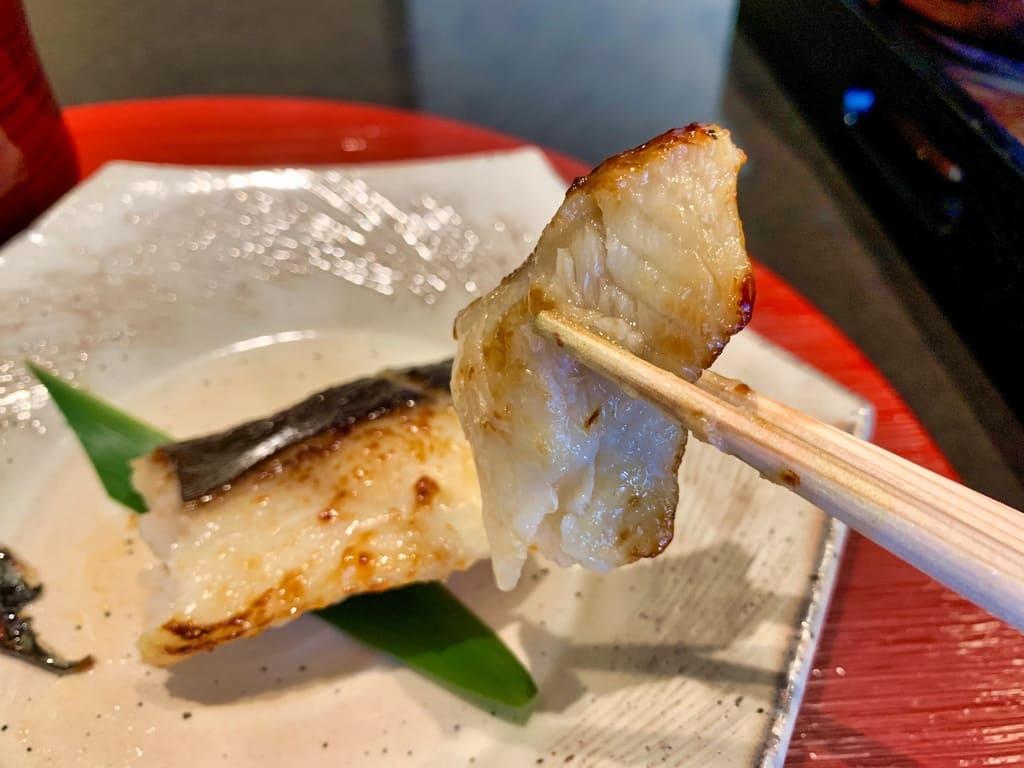 京都一の傳の銀だらの蔵みそ焼実食
