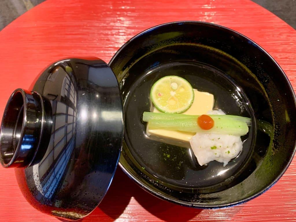 京都一の傳の鱧と卵豆腐の椀