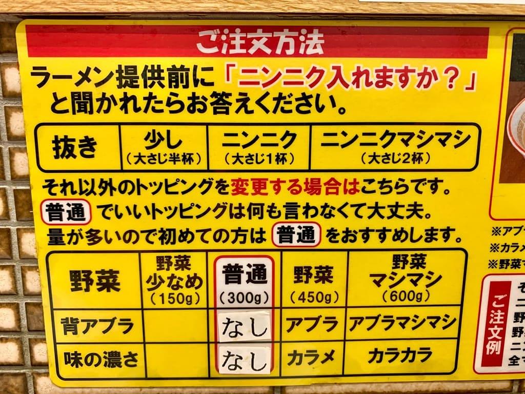 ラーメン豚山 南船場店のラーメン注文方法