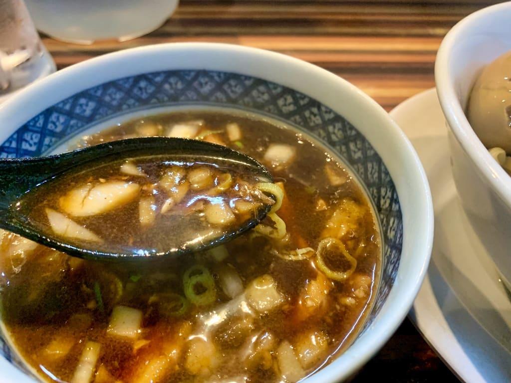 ラーメン つけ麺 笑福の特製つけ麺大盛りスープ実食